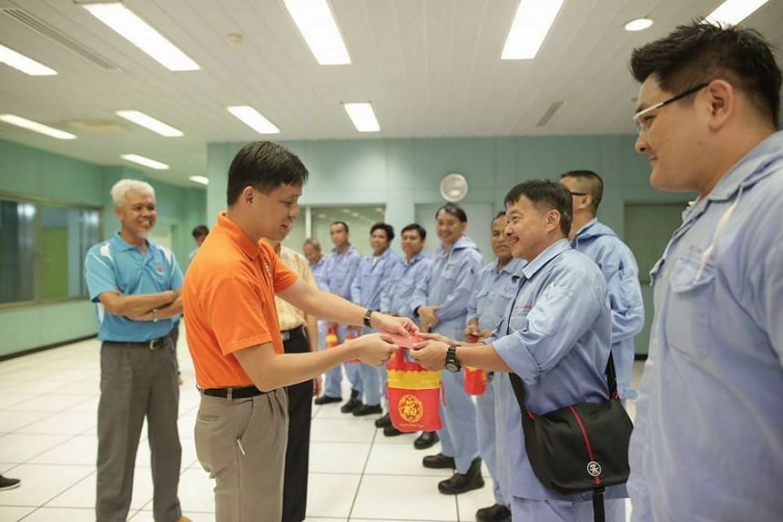 National Trades Union Congress' Secretary-General Chan Chun Sing meeting workers at Tuas Incinerator on the first day of Chinese New Year.