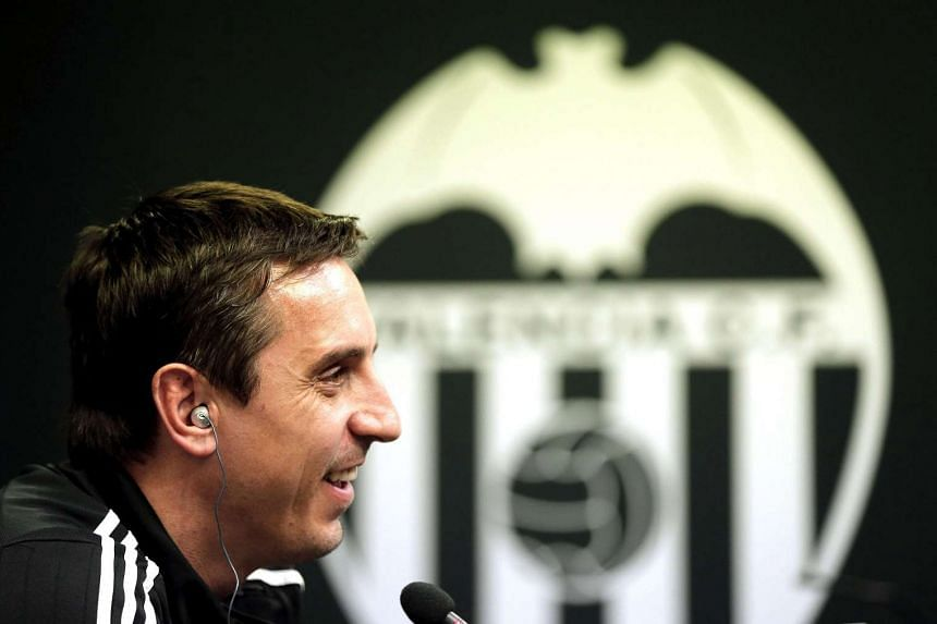 Valencia's English head coach Gary Neville speaks during a press conference in Valencia, eastern Spain, on Feb 2, 2016.