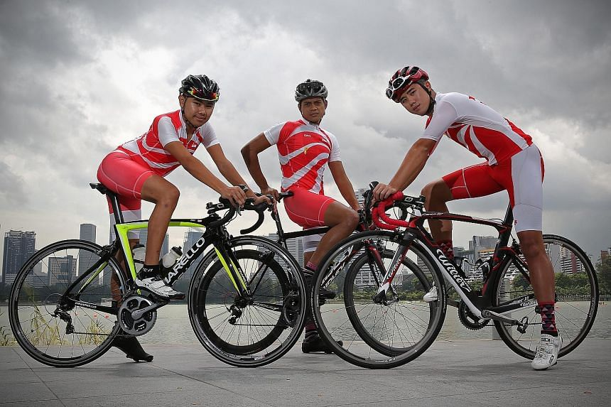 These men in lycra - (from left) Firoz Loh, 16; Mr Syed Amir Haziq, 28; and Mr Benedict Lee, 21 - will be riding 250km around the island with Singapore national cyclist Vincent Ang (above) to raise funds for former offenders.