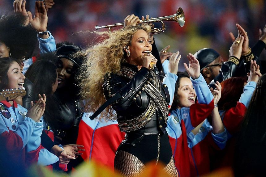 Beyonce performing during the half-time show at the NFL's Super Bowl 50 football game.