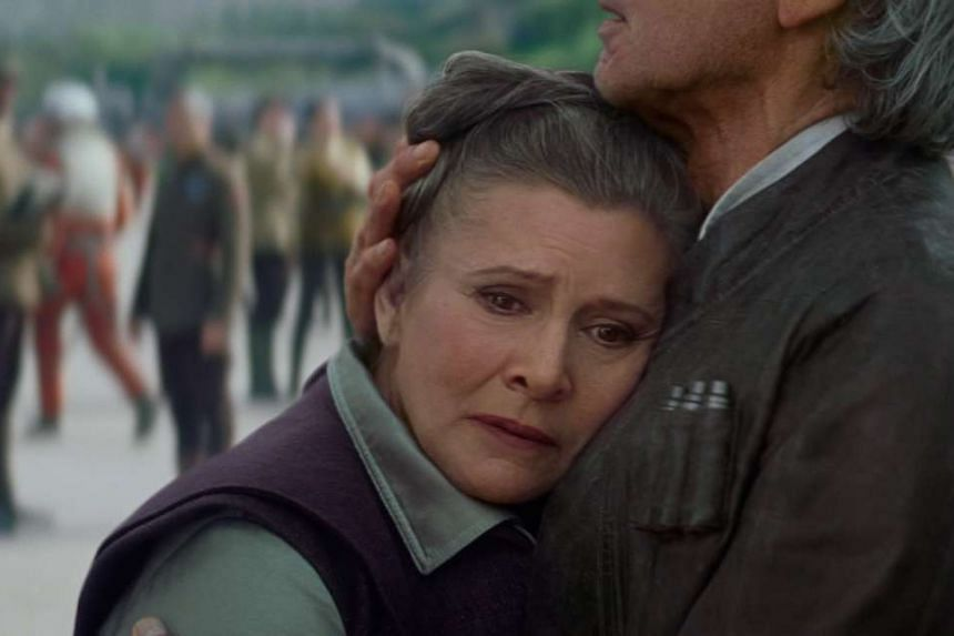 Actress Carrie Fisher reprises her role as an older Princess Leia in Star Wars: The Force Awakens