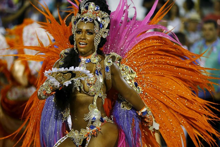 Beija-Flor samba school's Drum Queen Rayssa Oliveira performing during the carnival parade at the Sambadrome in Rio de Janeiro.