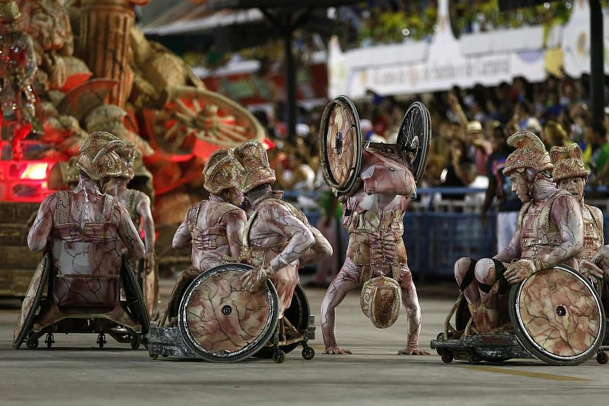Members of the Uniao da Ilha do Governador Samba School performing during the first day of the Special Group Samba Schools parade of Carnival at the Sambadrome on Feb 7, 2016.