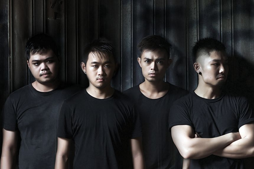 Actors (above from left) Chong Woon Yong, Stanley Seah, Juni Goh and Mitchell Fang make up the four-man cast of Grind, written and directed by Goh Boon Teck.