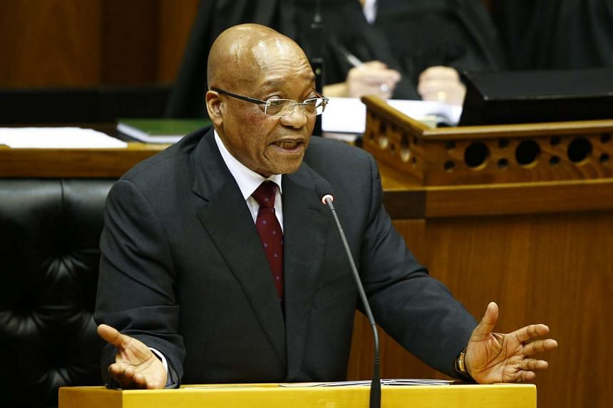 A case over public money spent on President Jacob Zuma's (above) private house was heard at the Constitutional Court of Johannesburg.
