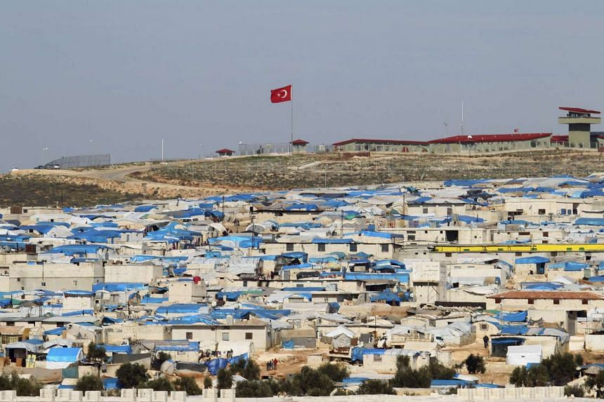 Tents housing internally displaced people in Atma camp, near the Syrian-Turkish border in Idlib Governorate on Feb 5, 2016.