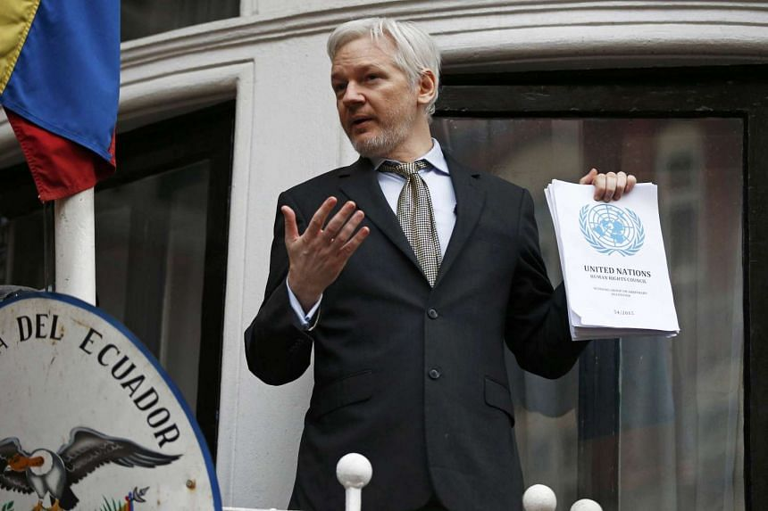 WikiLeaks founder Julian Assange makes a speech from the balcony of the Ecuadorian Embassy, in central London, Britain on Feb 5, 2016.