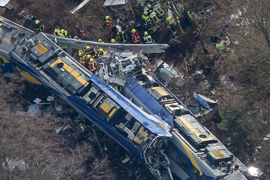 An aerial view of rescue forces working at the site of a train accident near Bad Aibling, Germany on Feb 9, 2016.