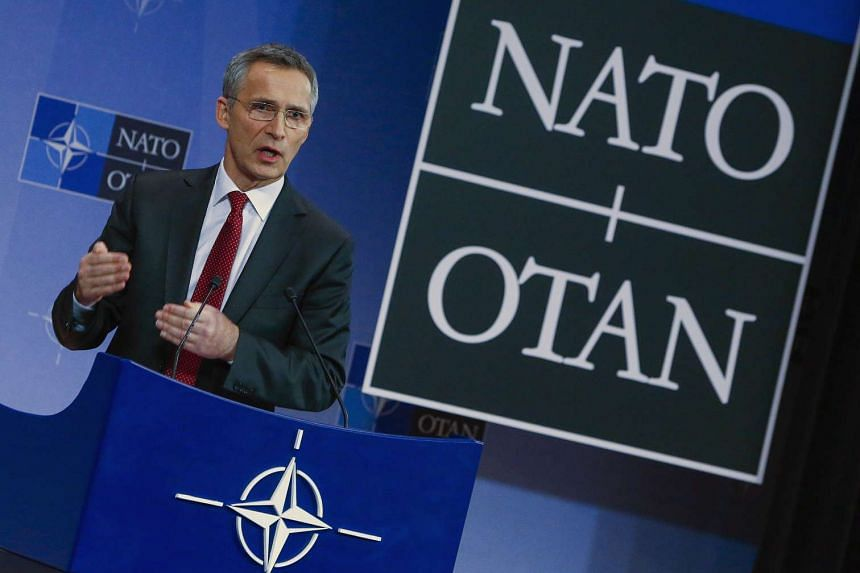 Nato Secretary-General Jens Stoltenberg holds a news conference in Brussels.
