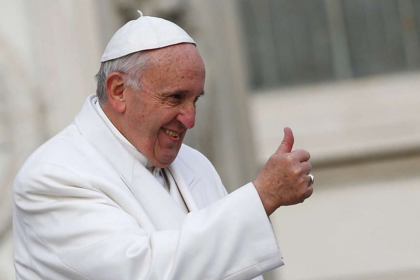 Pope Francis gestures during a special audience in Saint Peter's Square at the Vatican on Saturday.