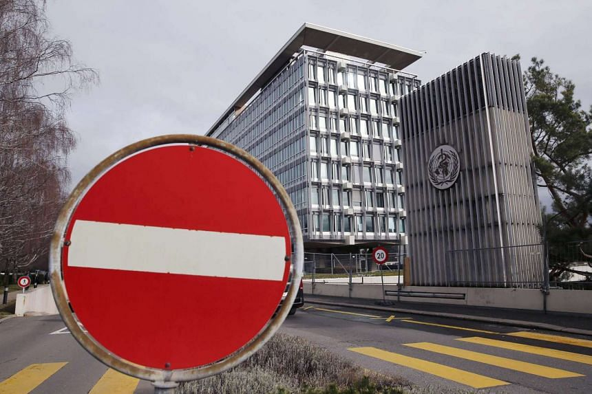 A sign of the times stands out at World Health Organisation (WHO) headquarters in Geneva, Switzerland.