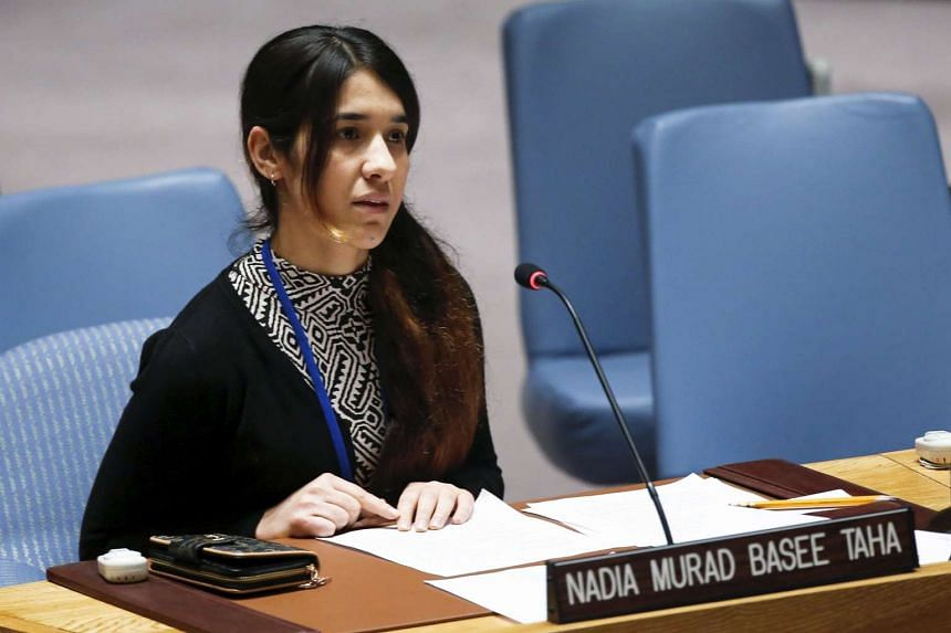 Nadia Murad Basee speaks to members of the Security Council  at the United Nations in New York on Dec 16, 2015.