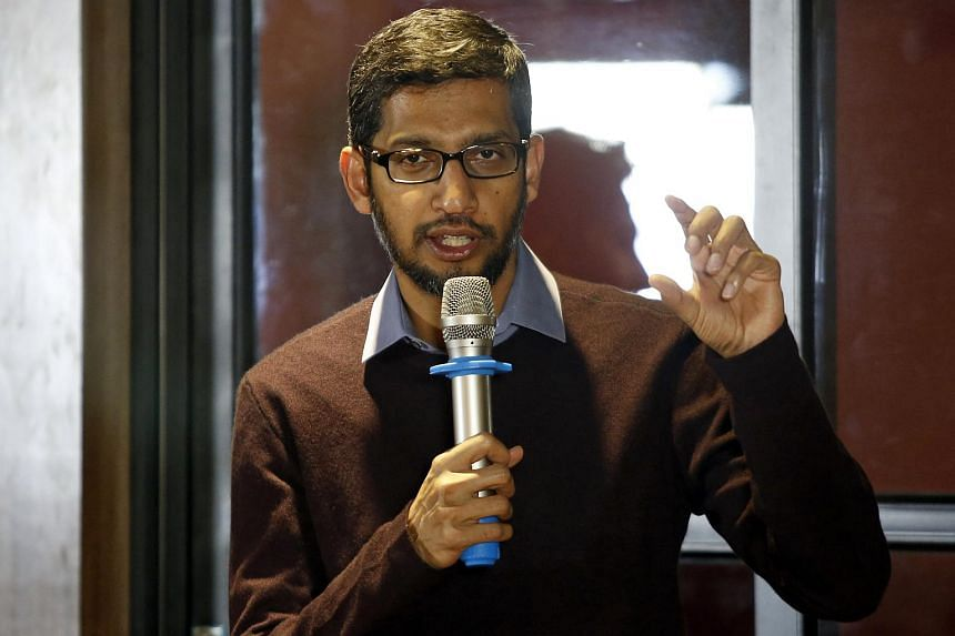 Google CEO Sundar Pichai gesturing as he addresses a conference with the Vietnamese IT community in Hanoi, Vietnam on Dec 22, 2015.