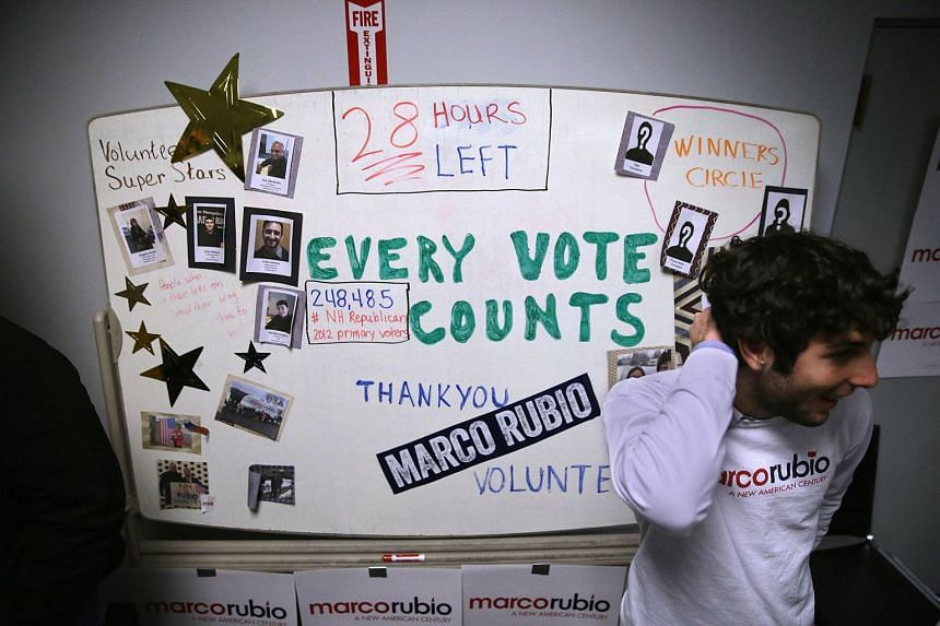 A board telling volunteers the countdown until primary day at Senator Marco Rubio's campaign headquarters on Feb 8, 2016 in Manchester, New Hampshire.
