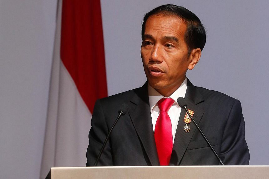 Indonesian president Joko Widodo giving a keynote speech at the Singapore-Indonesia Business Dialogue on July 28, 2015.