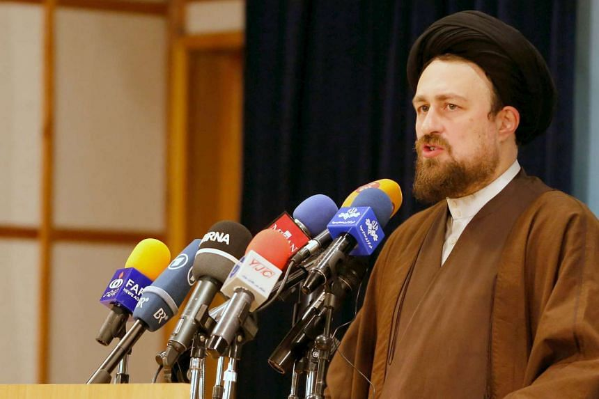 Mr Hassan Khomeini speaking to reporters at the Interior Ministry in Teheran on Dec 18, 2015.