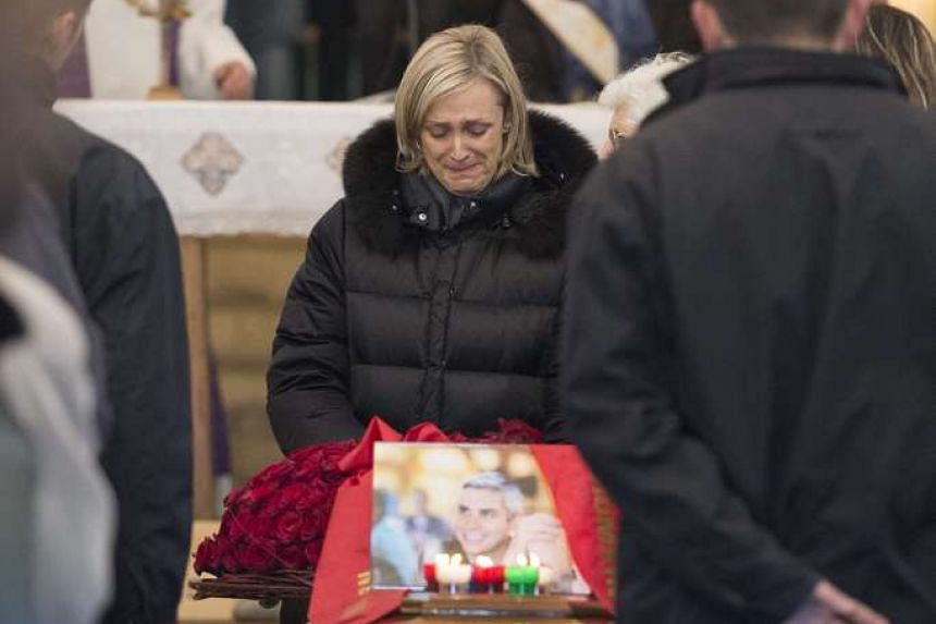 Brigitte Violier, giving tribute to her husband, French chef Benoit Violier, during his funeral in Montils, France, on Feb 6, 2016.