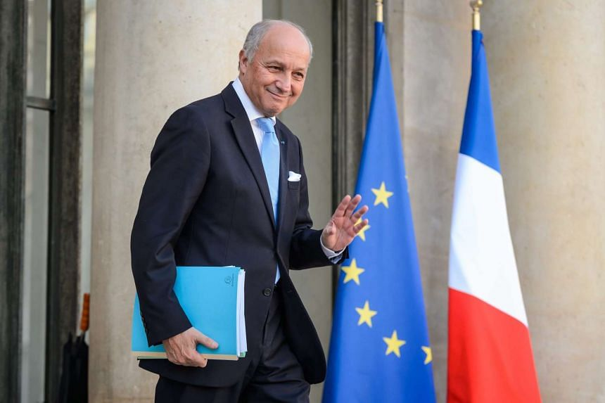 Laurent Fabius leaves the Elysee Palace after the weekly cabinet meeting in Paris on Feb 10, 2016.