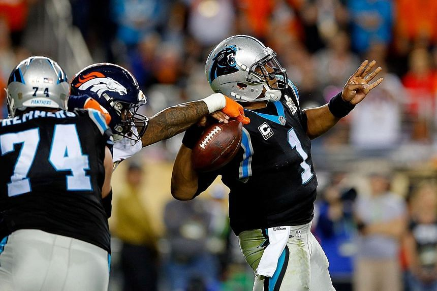 From top: Super Bowl 50's Most Valuable Player, the Denver Broncos' Von Miller, strips the ball away from Carolina Panthers' star quarterback Cam Newton, forcing a fumble that led to a Denver touchdown, in the first quarter. A sullen Newton barely an