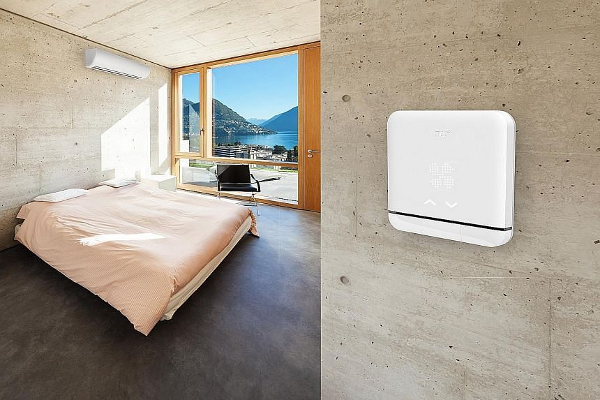 Flat and squarish, the Tado can sit on a table or be mounted on a wall. It is managed via an app.