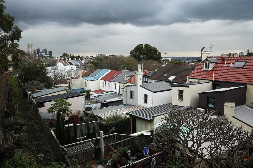 Houses in the suburb of Edgecliff with Sydney's central business district in the background.