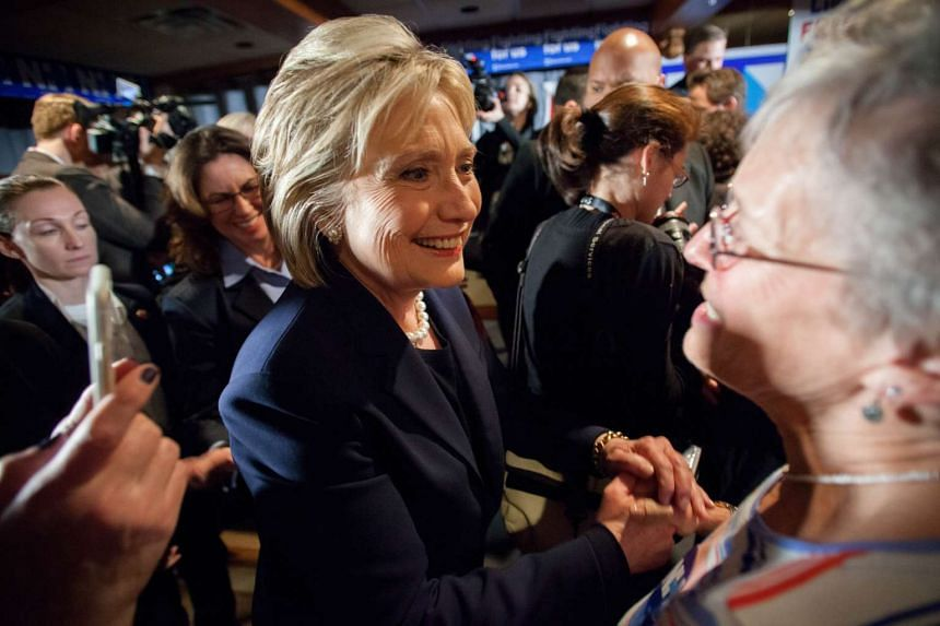 Hillary Clinton greets supporters in Durham, New Hampshire.