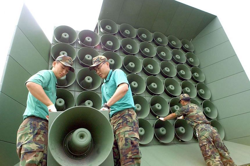South Korean soldiers working on propaganda loudspeakers along the border with North Korea in 2004.