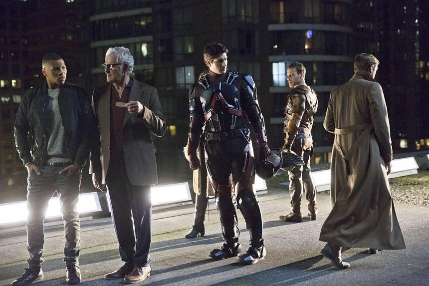 Brandon Routh as the Atom (centre) and his co-stars (from left) Franz Drameh, Victor Garber and Falk Hentschel in television series Legends Of Tomorrow.