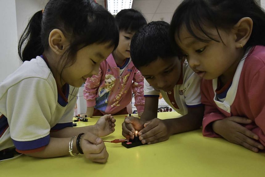 At the PAP Community Foundation's Sparkletots Pre-school @ Sembawang, children in Kindergarten 2 were able to build a simple electrical circuit in groups of five with little help from teachers.