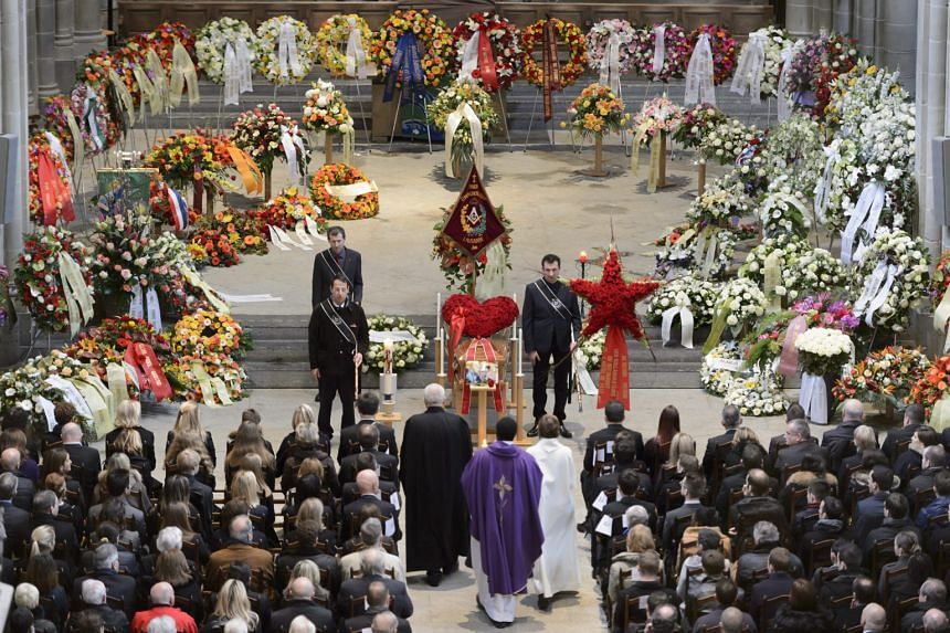 Chef Benoit Violier's funeral in Switzerland (above) last Friday was attended by many famous restaurateurs.