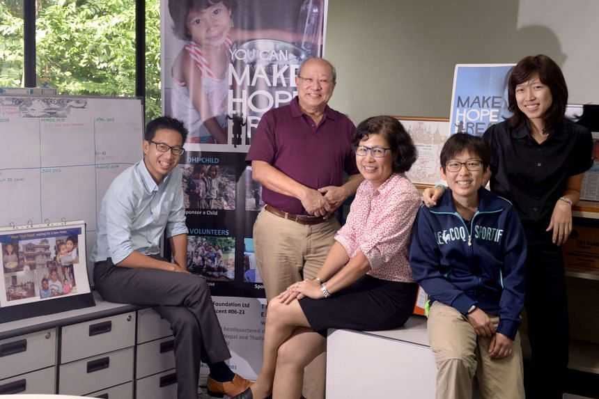 Operation Hope Foundation's staff Chng Eu Lee (from left), Robert Kee, Susan Teo, Sally Low and Evangeline Lin want to build more rice-bag houses in Nepal for those who lost their homes in last year's twin earthquakes. They hope to speed things up by