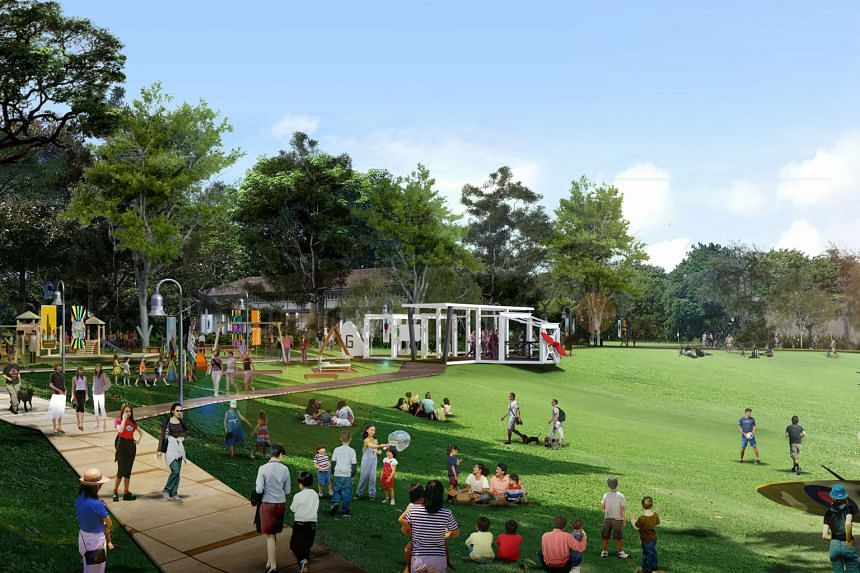 Artist's impressions of people chilling out in the recreational spaces at Seletar Aerospace Park after redevelopment.