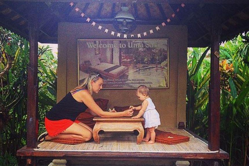 The family managed to travel to Ubud despite nearby Mount Rinjani on Lombok erupting.