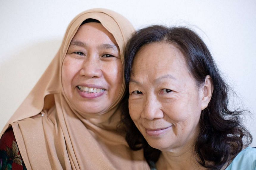 As a teenager, Madam Mazinah Ibrahim (left) distanced herself from her biological family. It was her biological sister, Doreen Loh, 66, who first got close to her by giving her English tuition for free.