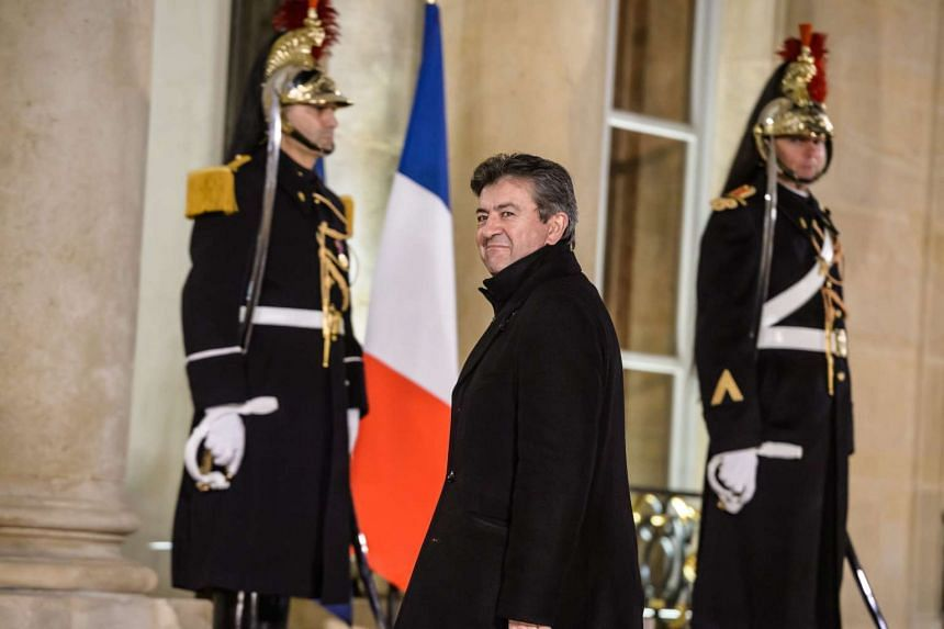 French leftist leader Jean-Luc Melenchon arriving at the Elysee palace in Paris on Feb 1, 2016.