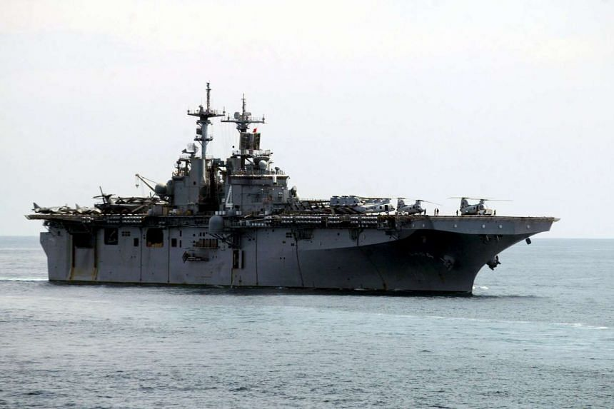 The US Navy amphibious assault ship USS Boxer is seen sailing off Goa, India, on Oct 29, 2006.