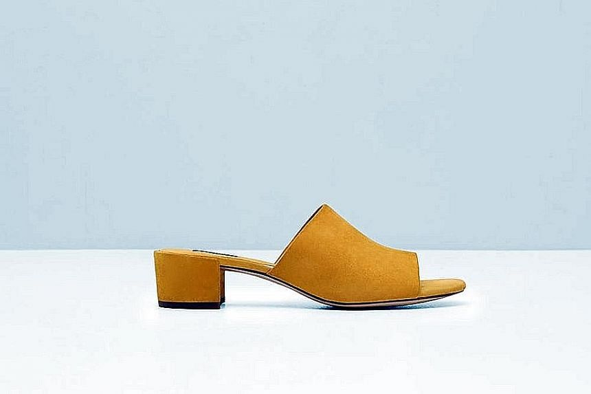 3. Yellow suede mules with low heel.