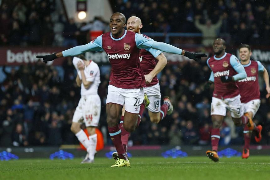 Angelo Ogbonna celebrates scoring the second goal for West Ham.