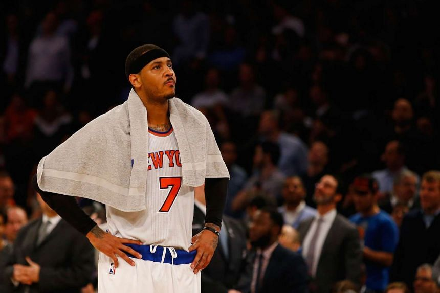 Carmelo Anthony of the New York Knicks reacts at the game at Madison Square Garden on Feb 9, 2016.