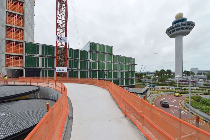 The site of Crowne Plaza Changi Airport's new 10-storey extension.