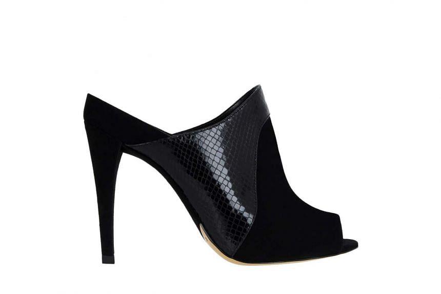 1. Black peep-toe mules.