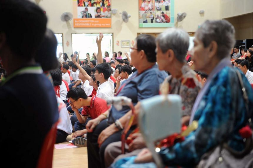 The students entertained 24 residents of a senior citizens' home with skits, a lion dance performance, lo hei and a karaoke session last Friday. They also handed out eight homemade hampers containing items such as rice and oil.