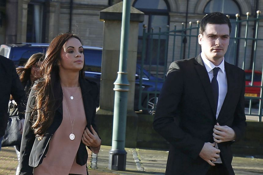 Sunderland winger Adam Johnson arrives with his girlfriend Stacey Flounders at Bradford Crown Court yesterday. He is charged with four offences concerning sex with an underaged girl.