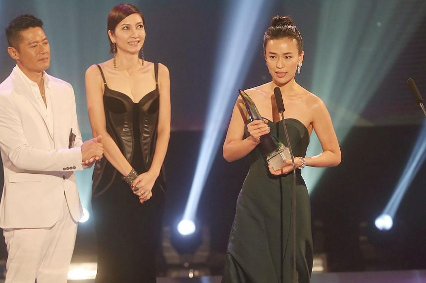 At the Star Awards in 2015, Rebecca Lim (front) won the coveted Best Actress award for her role in Yes! We Can.