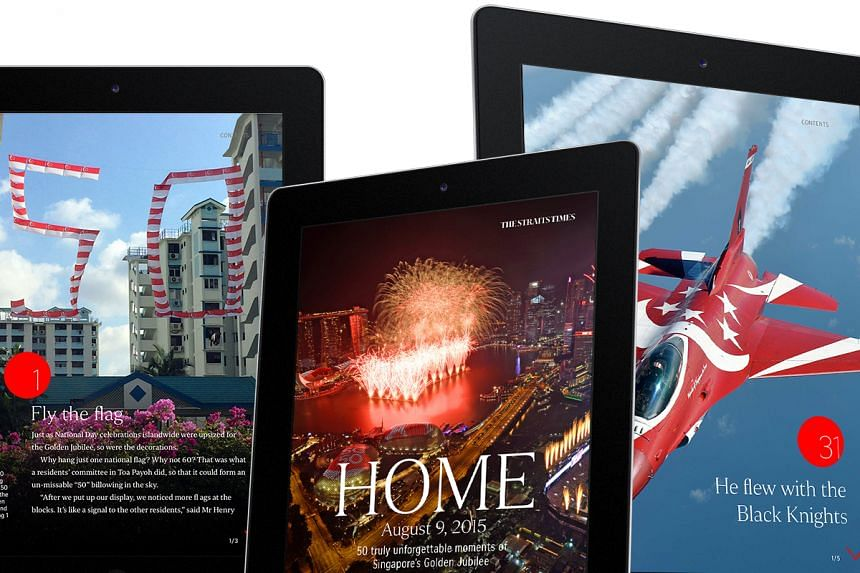 Tablets showing pages from the e-book, Home: 50 Truly Unforgettable Moments Of Singapore's Golden Jubilee.