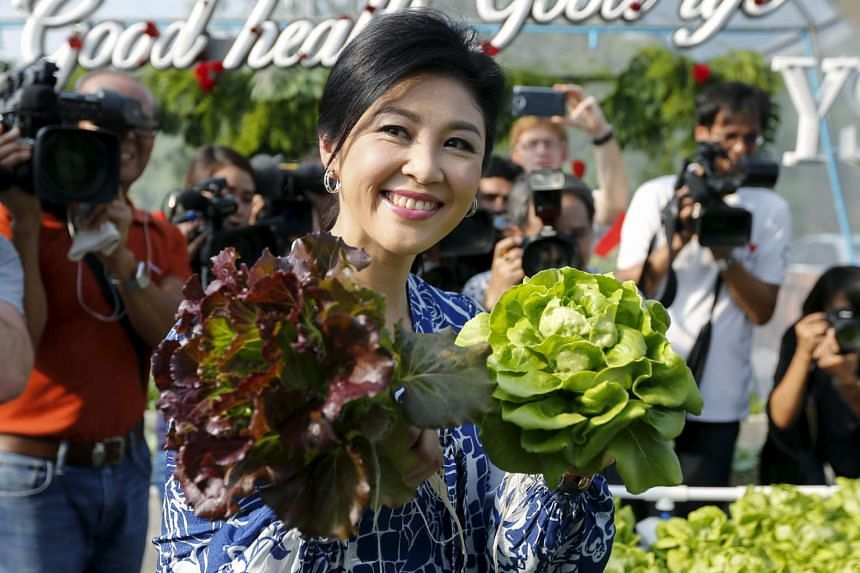 Former Thai prime minister Yingluck Shinawatra receives foreign media at her house in Bangkok on Feb 12, 2016.