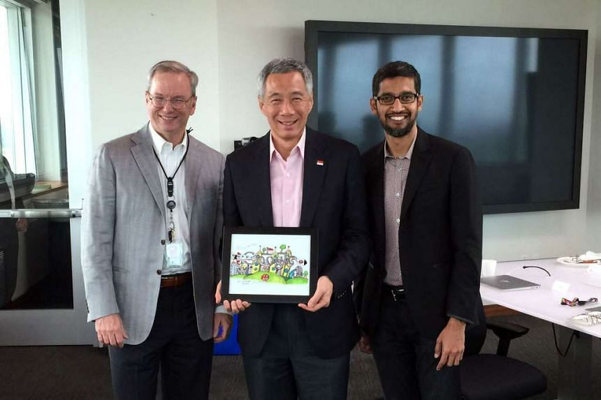 PM Lee Hsien Loong meets Google CEO Sundar Pichai and Eric Schmidt, the executive chairman of Google parent Alphabet.