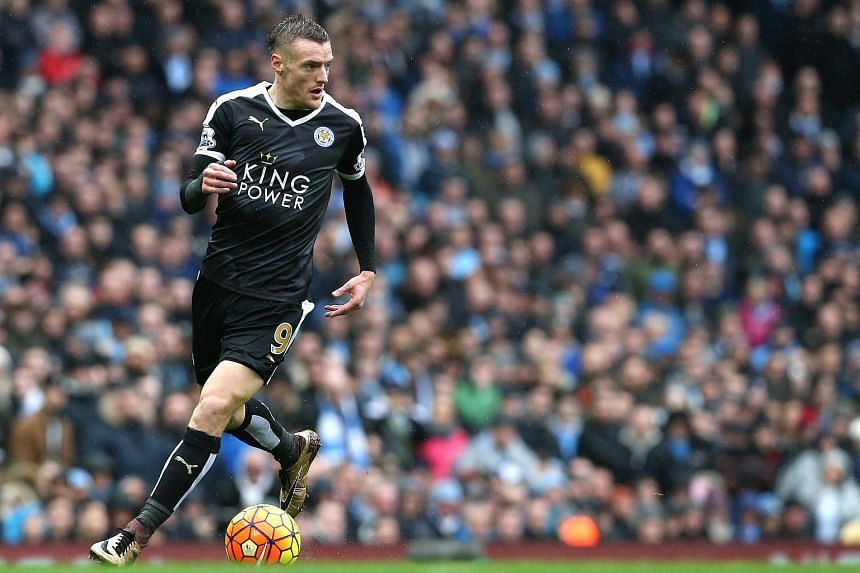 Leicester City's Jamie Vardy during the EPL match between Manchester City and Leicester City on Feb 6, 2016.