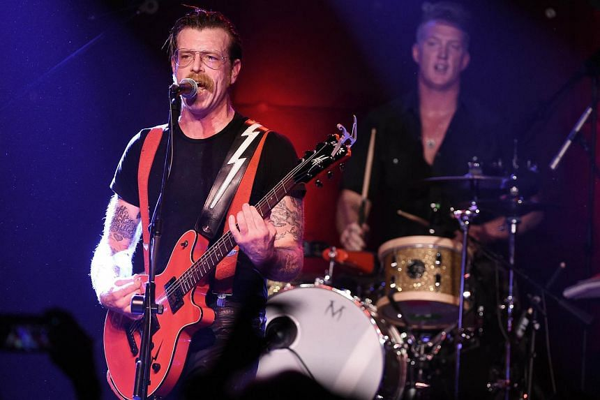 Musicians Jesse Hughes (left) and Josh Homme of Eagles of Death Metal perform at the Teragram Ballroom on in Los Angeles, California, in this Oct 19, 2015 file picture.