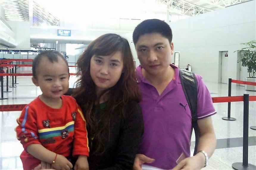 A photo of Mr Gu, Madam Kong and their older son taken around six years ago when Mr Gu returned to China. Their two sons are now aged four and seven.